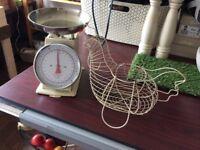 Kitchen scales egg basket fruit basket kitchen accessories shabby chic