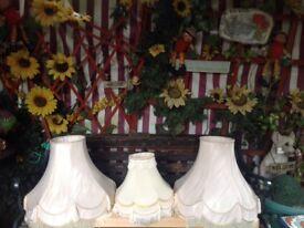 3 cream lamp shades