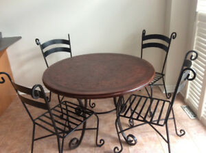 Wrought Iron Dining Table with 4 Chairs