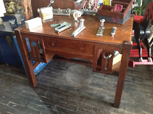 Solid wood oak library desk - Stickley style