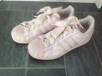 Pink adidas superstars size 5.5