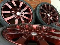 "20"" GENUINE RANGE ROVER ALLOY WHEELS & TYRES PROFESSIONALLY POWDER COATED (BMW X5'VW T5,VIVARO)"