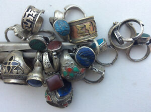 Old Arabic ethnic silver natural gem detailed rings jewelry $20