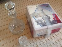 Bohemian lead crystal liqueur decanter and six glasses