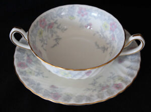 MINTON FOOTED SOUP BOWLS W/UNDER PLATE - GARDEN PINKS