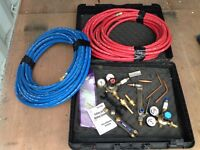 Oxy acetylene cutting, burning, welding set-up by Victor