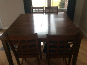 Solid wood table matching chairs