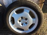 Mercedes alloy wheels c e slk clk,190 124 new tyres