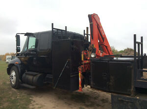 2005 Black International 4300 Crew Cab Deck Truck With Picker!