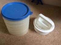 Tupperware burger shaper and containers