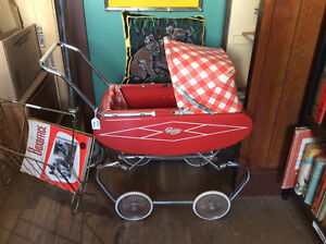 Gendron Red Doll Pram Carriage Tin 1950s