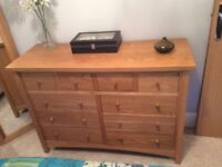 Solid oak 6 + 4 draw chest or drawers and x2 matching bedside cabinets