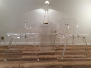 2x Vintage Eames LCD Style Lucite Chairs- 2 Chaises Style LCD