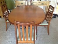 G plan extending dinning table and chairs
