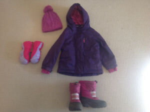 Winter jacket, hat and mitts