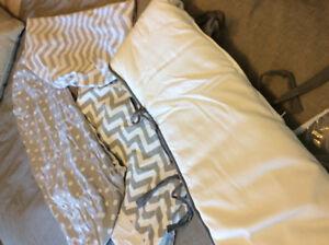Grey and white chevron and polka dot baby bedding-change pad