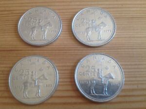 1873-1973 CANADA 25 Cent Coins ~ RCMP CENTENNIAL (4 for$4)