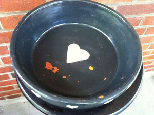 Lovely Vintage Terracotta Gray Bowl With White Hearts Peterborough Peterborough Area image 4
