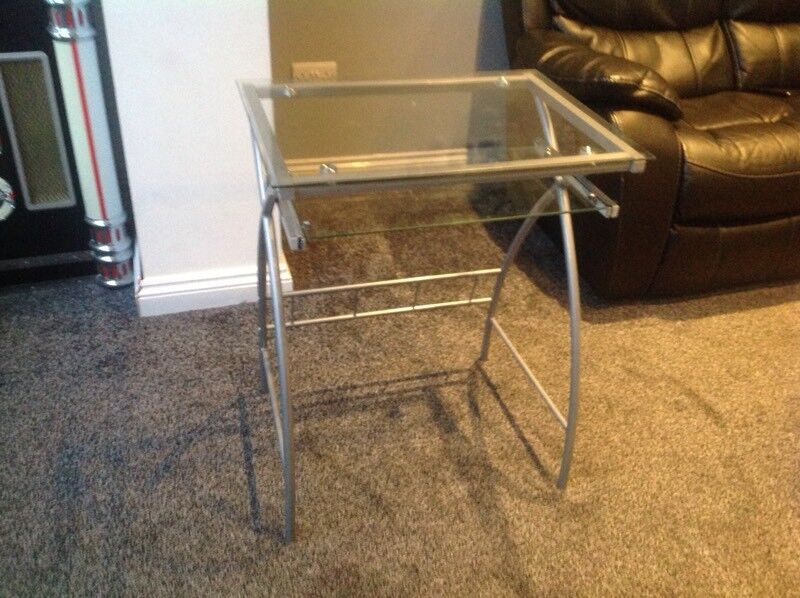 Clear glass computer and keyboard table