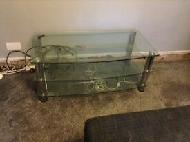 Large heavy glass tv stand