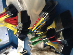 Assorted paint brushes, 2 aprons & a pair of gloves --$25