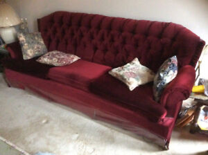 FREE FULL SOFA SET, NEED TO CLEAR ASAP, RED VELVET, COMFORTABLE