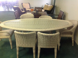 Outdoor Patio Furniture Wicker Dining / Poker Table