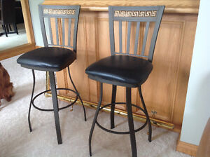 Wrought Iron leather padded seat Bar Stools