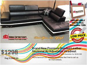 ◆Brand New 2pc High Grade Bonded Leather Sectional W/Headrest@ND