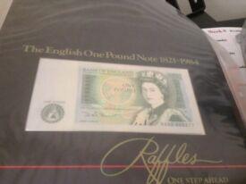 English One Pound Note 1821-1984