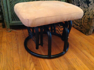 "Rocking Foot Stool w/ Suede Top Material 18"" x 16"" x 14""H"