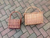 VIntage wine bottle basket / carrier, picnic basket x 2