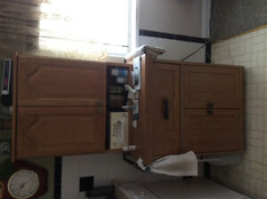 Cabinet with Oak hutch.