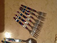 Dessert spoons and forks