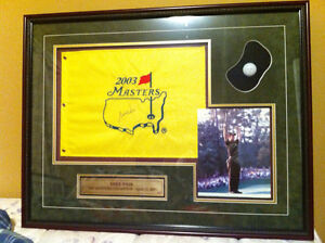Print of signed flag with picture of Mike Weir 2006 Championship