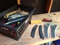 Model train track, engines, cars, controllers, buildings
