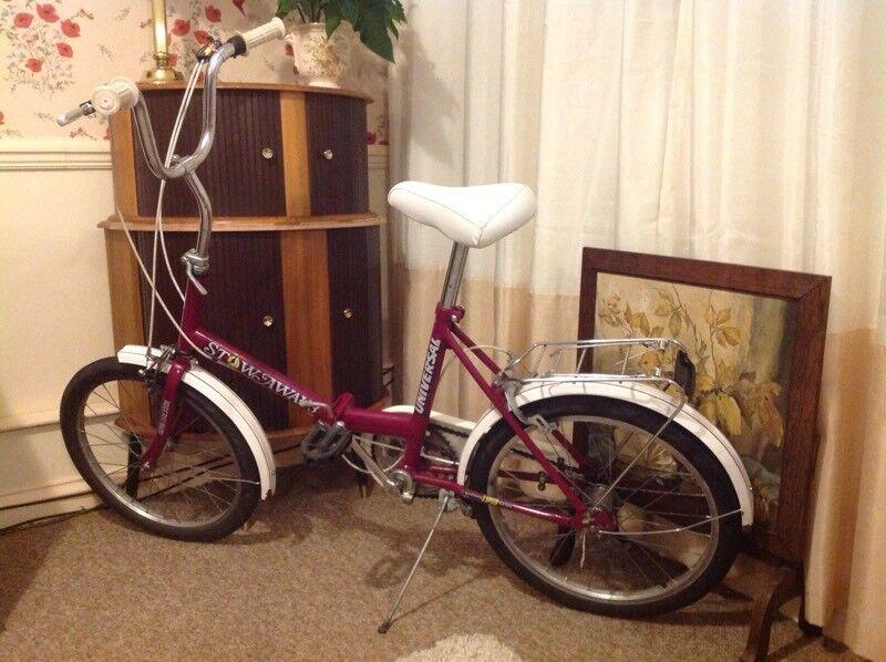 Stowaway 3 universal fold up bike 3 speed sturmey archer gears rear rack useful for shopping etc