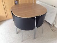 Compact dining table and chairs oak and dark brown