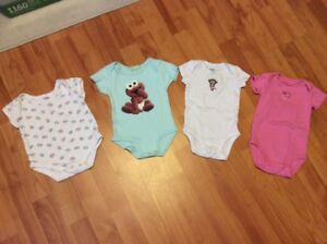 4 baby girl diaper shirts, size 3 months