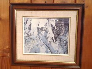 ROBERT BATEMAN OWL PRINT ( from a calendar) IN GLASS FRAME