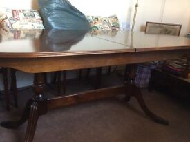 Oval dining table and 8 chairs