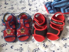 Paw patrol and Disney cars sandals size 10