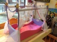 BabyBorn Wooden Four Poster Bed with Bedding - Free local delivery.