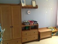Nursery furniture. Wardrobe. drawers with changing table. Toy box and shelf