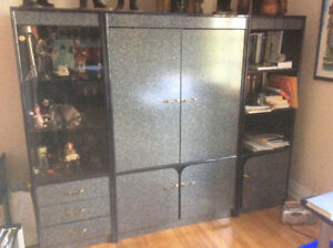 Shelving unit 80$ and chairs 15$
