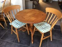 Solid pine table and 2 chairs