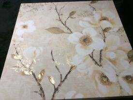 Stunning Natural Floral Canvas With Striking Gold Detail