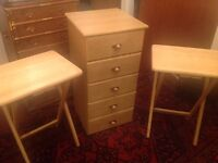 Chest of drawers and 2 matching tables