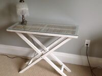 White folding accent table