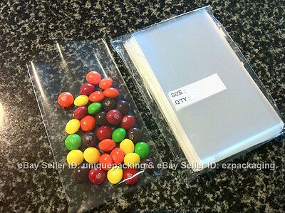 100 Pcs 3X5  O  Clear Candy Cookie Candle Poly   Cello   Cellophane Bags